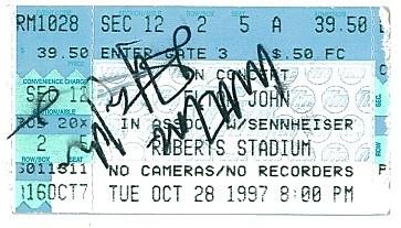 """Elton John ticket reads """"With Love"""" Elton John, credit by Deb Turner"""