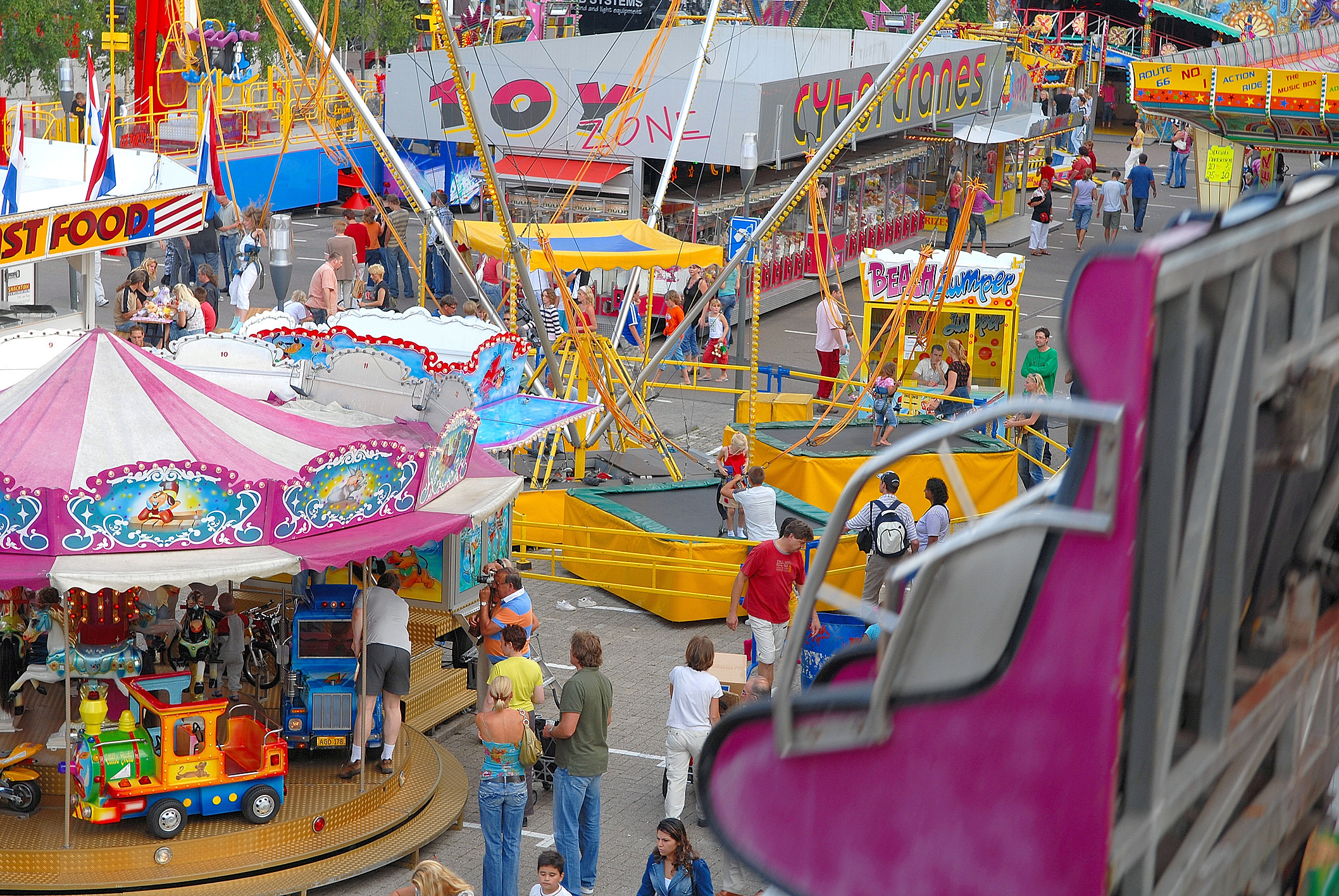 High angle view of fairground park